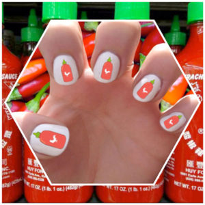 Sriracha Hot Sauce Nail Decals