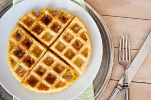 Jalapeno Corn Waffles and Sriracha Maple Syrup